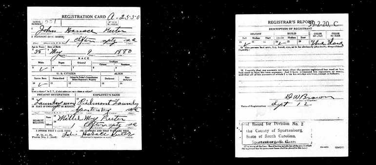 John Horace Registration Card