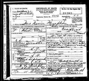 Nanie Murph Death Certificate