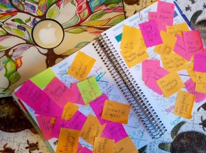 "My laptop and very full calendar with the sticky notes of blog ideas. They are sitting on top of a puzzle my daughter just put together. I thing I'm gonna call this picture, ""Pieces of My Life."" Hahaha"